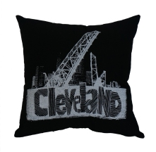 'Cleveland Bridges' in White on Black Pillow