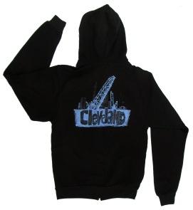 'Cleveland Bridges' in White on Black Unisex Zip Hoodie (Back)