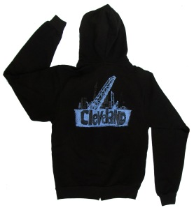 'Cleveland Bridges' in White on Black Unisex Zip Hoodie (Back)