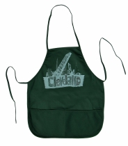 'Cleveland Bridges' in White on Forest Green Apron
