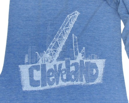 'Cleveland Bridges' in White on Heather Athletic Blue American Apparel Jersey Scarf (Detail)