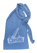 'Cleveland Bridges' in White on Heather Athletic Blue American Apparel Jersey Scarf