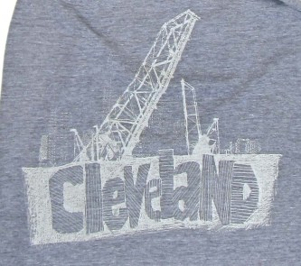 'Cleveland Bridges' in White on Heather Grey American Apparel Jersey Scarf (Detail)