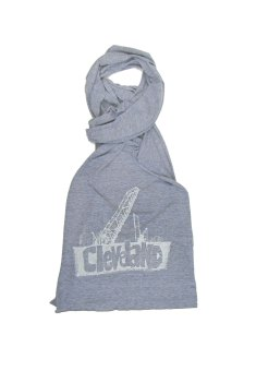 'Cleveland Bridges' in White on Heather Grey American Apparel Jersey Scarf