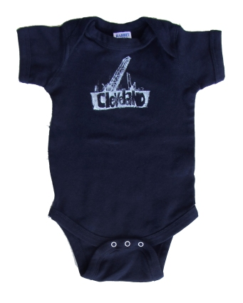 'Cleveland Bridges' in White on Navy Blue Onesie