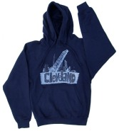 'Cleveland Bridges' in White on Navy Hoodie