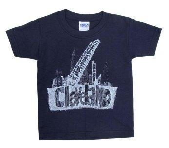 'Cleveland Bridges' in White on Navy ToddlerTee