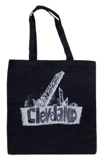 'Cleveland Bridges' in White on Navy Tote