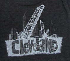'Cleveland Bridges' in White on Tri-Black American Apparel Jersey Scarf (Detail)