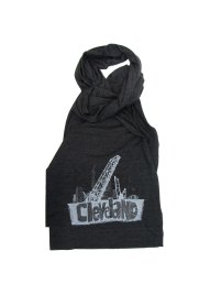 'Cleveland Bridges' in White on Tri-Black American Apparel Jersey Scarf