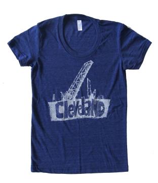 'Cleveland Bridges' in White on Tri-Indigo Ladies Track Tee