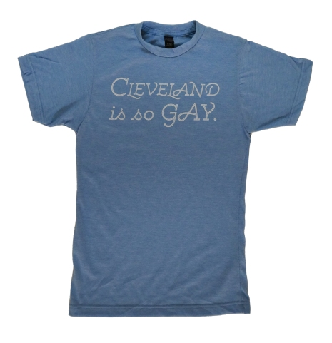 'Cleveland Is So Gay' in White on Athletic Blue Unisex Tee
