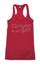 'Cleveland Is So Gay' in White on Heather Fuchsia Racerback Tank