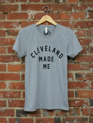 'Cleveland Made Me' on Athletic Grey TriBlend Unisex Tee