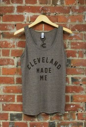 'Cleveland Made Me' on Tri-Coffee Brown Unisex American Apparel Tank