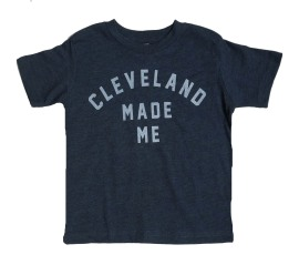 'Cleveland Made Me' on Vintage Navy Youth and Toddler Tee