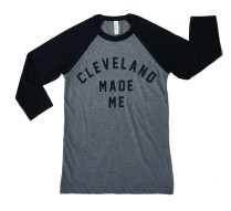 'Cleveland Made Me' Raglan Baseball Tee (Deep Heather, Black)