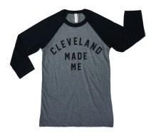 'Cleveland Made Me' Raglan Baseball Tee (Deep Heather, Black)