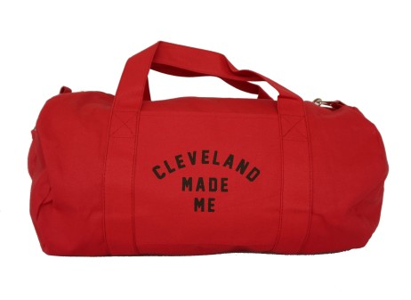 'Cleveland Made Me' Red Duffel Bag (White Background)