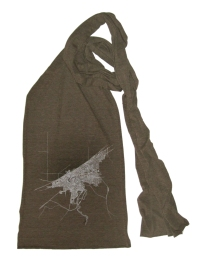 'Cleveland Map (Halftone Lake)' in White and Black on Coffee Brown American Apparel Jersey Scarf