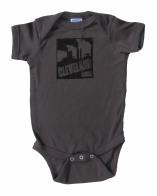 'Cleveland Smokestacks' in Black on Charcoal Gray Rabbit Skins Onesie
