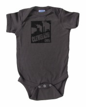 'Cleveland Smokestacks' in Black on Charcoal Gray Rabbit Skins Onesie