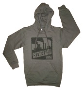 'Cleveland Smokestacks' in Black on Charcoal Grey Hoodie