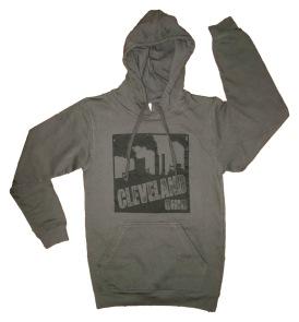 'Cleveland Smokestacks' in Black on Charcoal Grey Hoodie