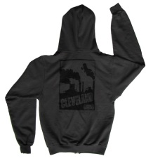 'Cleveland Smokestacks' in Black on Charcoal Unisex Zip Hoodie (Back)