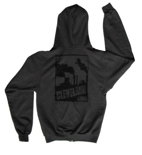 'Cleveland Smokestacks' in Black on Charcoal Unisex Zip Hoodie (Back)