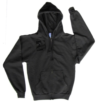 'Cleveland Smokestacks' in Black on Charcoal Unisex Zip Hoodie (Front)