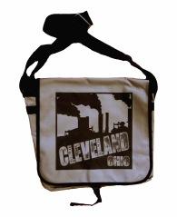 'Cleveland Smokestacks' in Black on Grey Messenger Bag