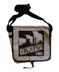 'Cleveland Smokestacks' in Black on Grey Messenger Bag