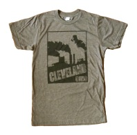 'Cleveland Smokestacks' in Black on Heather Brown Tee