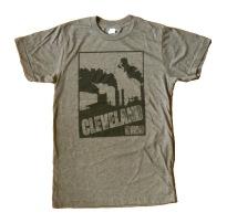 'Cleveland Smokestacks' in Black on Heather Brown Tee