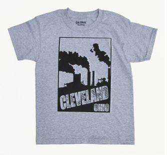 'Cleveland Smokestacks' in Black on Heather Grey Youth Tee