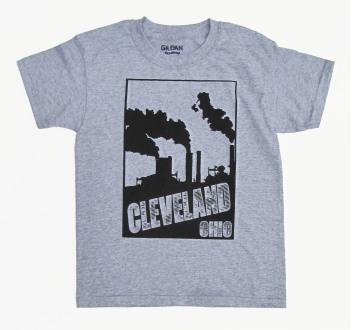 'Cleveland Smokestacks' in Black on Heather Grey Youth Tee