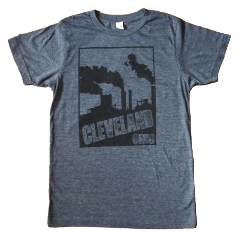 'Cleveland Smokestacks' in Black on Heather Navy Tee