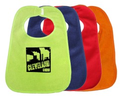 cleveland-smokestacks-in-black-on-multiple-bibs-lime-green-midnight-blue-red