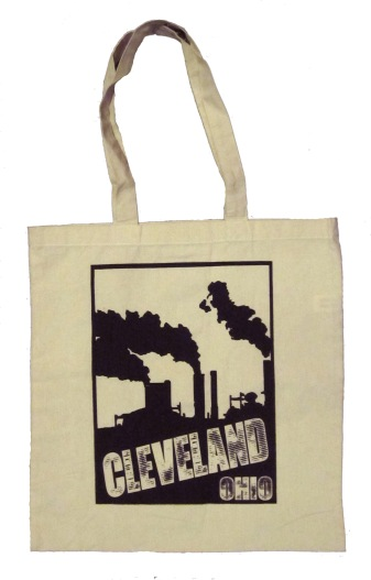 'Cleveland Smokestacks' in Black on Natural Canvas Tote