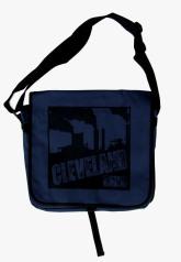 'Cleveland Smokestacks' in Black on Navy Messenger Bag