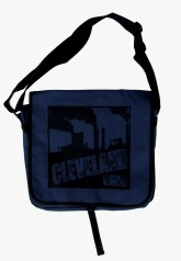 'Cleveland Smokestacks' in Black on Navy Messenger Bag