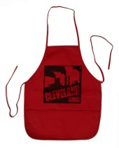 'Cleveland Smokestacks' in Black on Red Apron