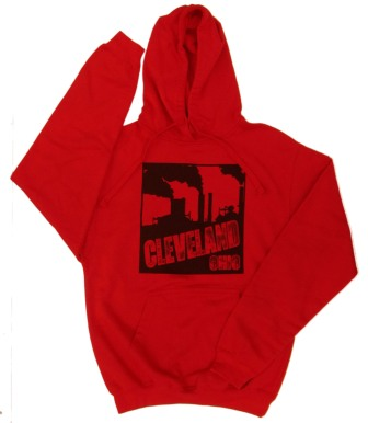 'Cleveland Smokestacks' in Black on Red Hoodie