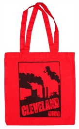 'Cleveland Smokestacks' in Black on Red Tote