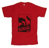 'Cleveland Smokestacks' in Black on Red V-Neck Mens Tees
