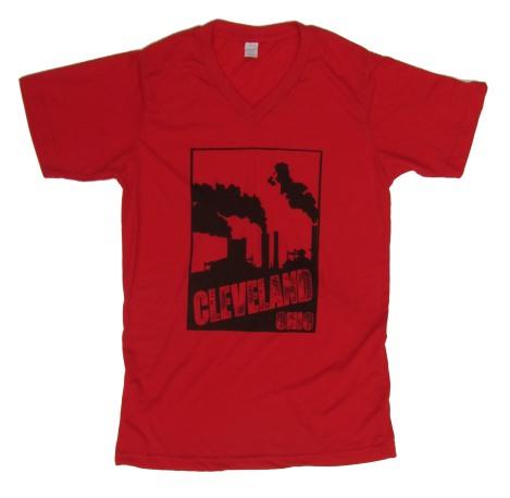 'Cleveland Smokestacks' in Black on Red V-Neck Mens Tees