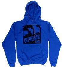 'Cleveland Smokestacks' in Black on Royal Blue Hoodie