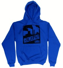 'Cleveland Smokestacks' in Black on Royal Blue Hoodie