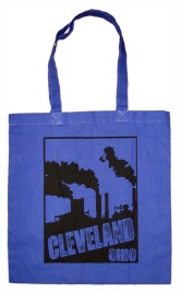 'Cleveland Smokestacks' in Black on Royal Blue Tote